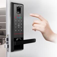 Digital door lock กลอนประตูดิจิตอล - Milre MI-6800 (Main-lock รหัส+บัตร+สแกนนิ้ว+กุญแจ)
