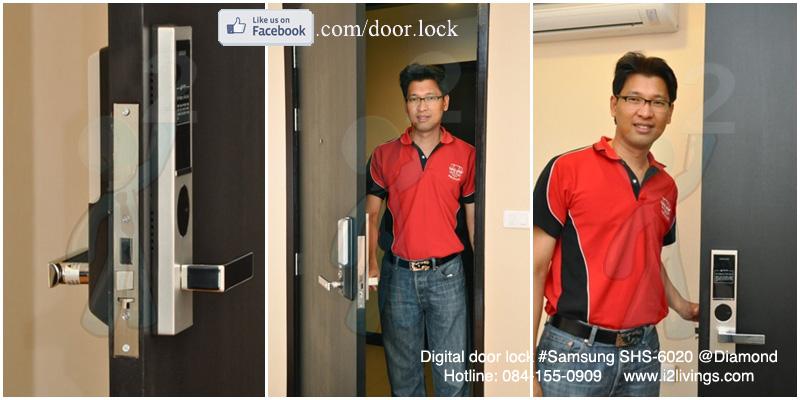 digital door lock  กลอนประตูดิจิตอล Samsung smart doorlock รุ่น SHS-6020 (H635) ของแท้ English version กุญแจ 5 ดอก_Diamond condo