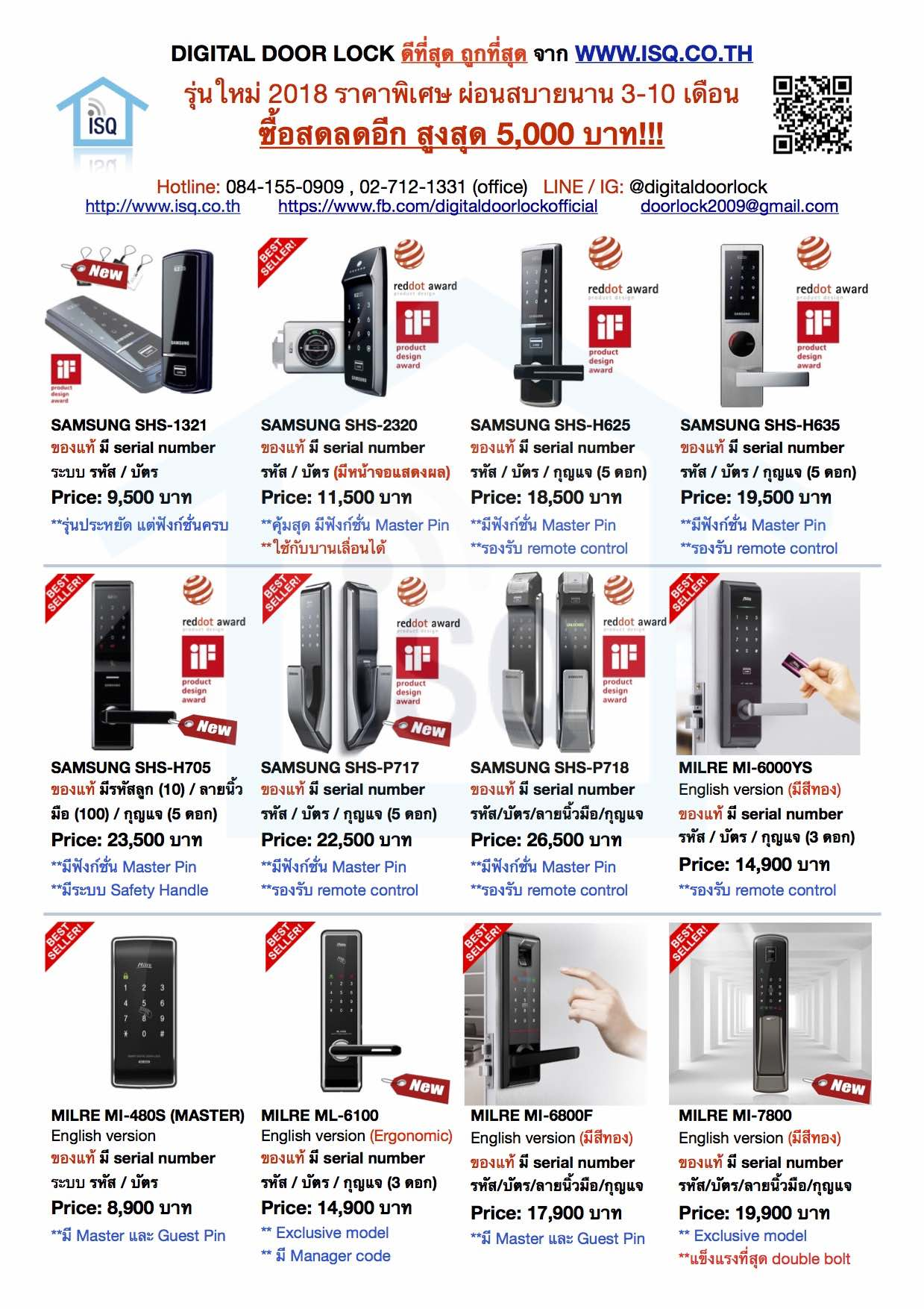 Digital door lock Pricelist 2017