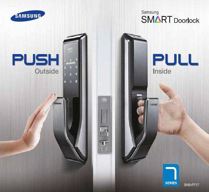 Samsung smart doorlock รุ่น SHS-P717 เป็นกลอนประตูดิจิตอล digital door lock รุ่นใหม่ล่าสุด Push/Pull รหัส+บัตร+กุญแจ