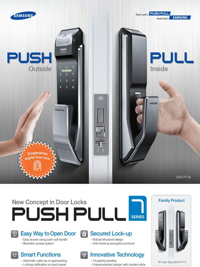 Samsung smart doorlock รุ่น SHS-P718 เป็นกลอนประตูดิจิตอล digital door lock รุ่นใหม่ล่าสุด Push/Pull รหัส+บัตร+สแกนนิ้ว+กุญแจ
