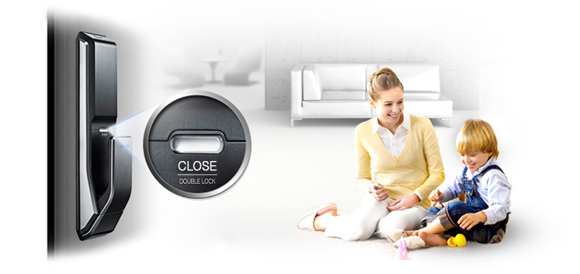 Samsung smart doorlock รุ่น SHS-P718 เป็นกลอนประตูดิจิตอล digital door lock New Push/Pull - Double security lock feature