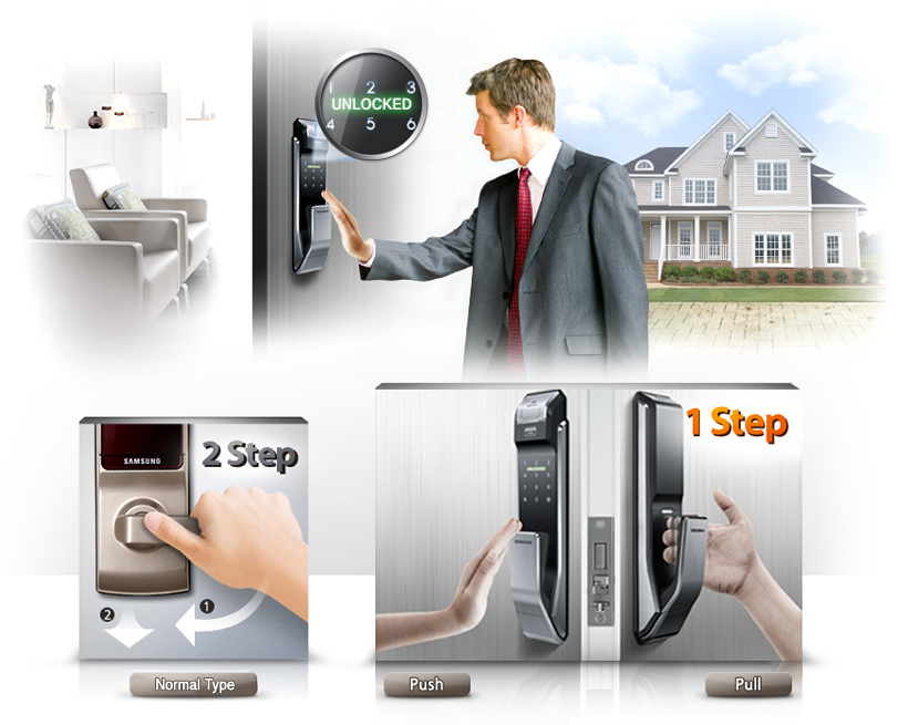 Samsung smart doorlock รุ่น SHS-P718 เป็นกลอนประตูดิจิตอล digital door lock New Push/Pull Pin+RFID/NFC+Biometric/Finger scan+Key