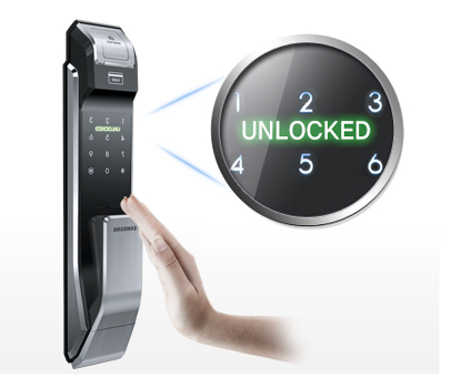 Samsung smart doorlock รุ่น SHS-P718 เป็นกลอนประตูดิจิตอล digital door lock New Push/Pull - Exclusive English version