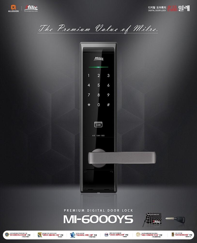 digital door lock Milre MI-6000YS new logo with Allegion กลอนประตูไฟฟ้า ดิจิตอล