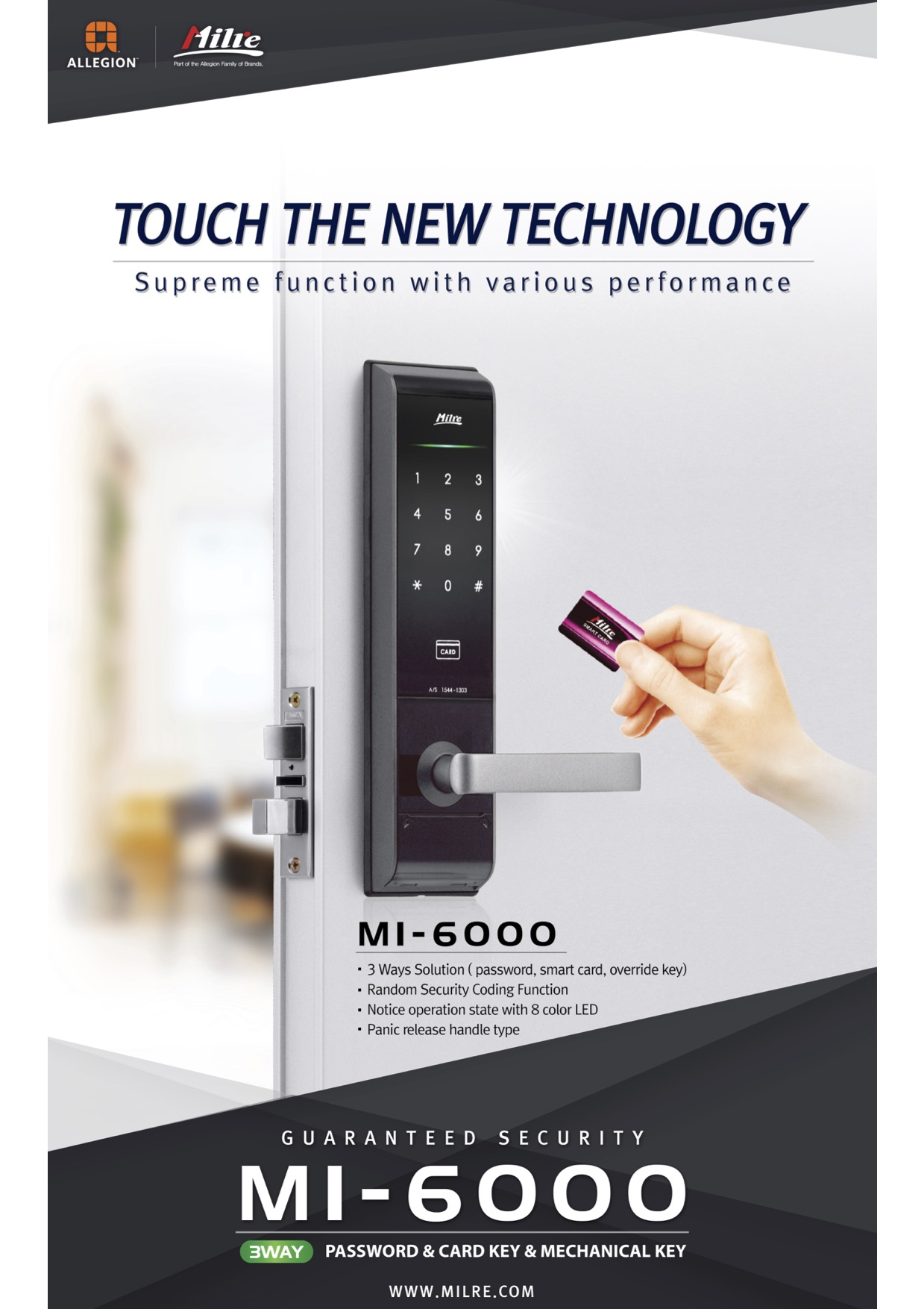 digital door lock Milre MI-6000YS new logo with Allegion