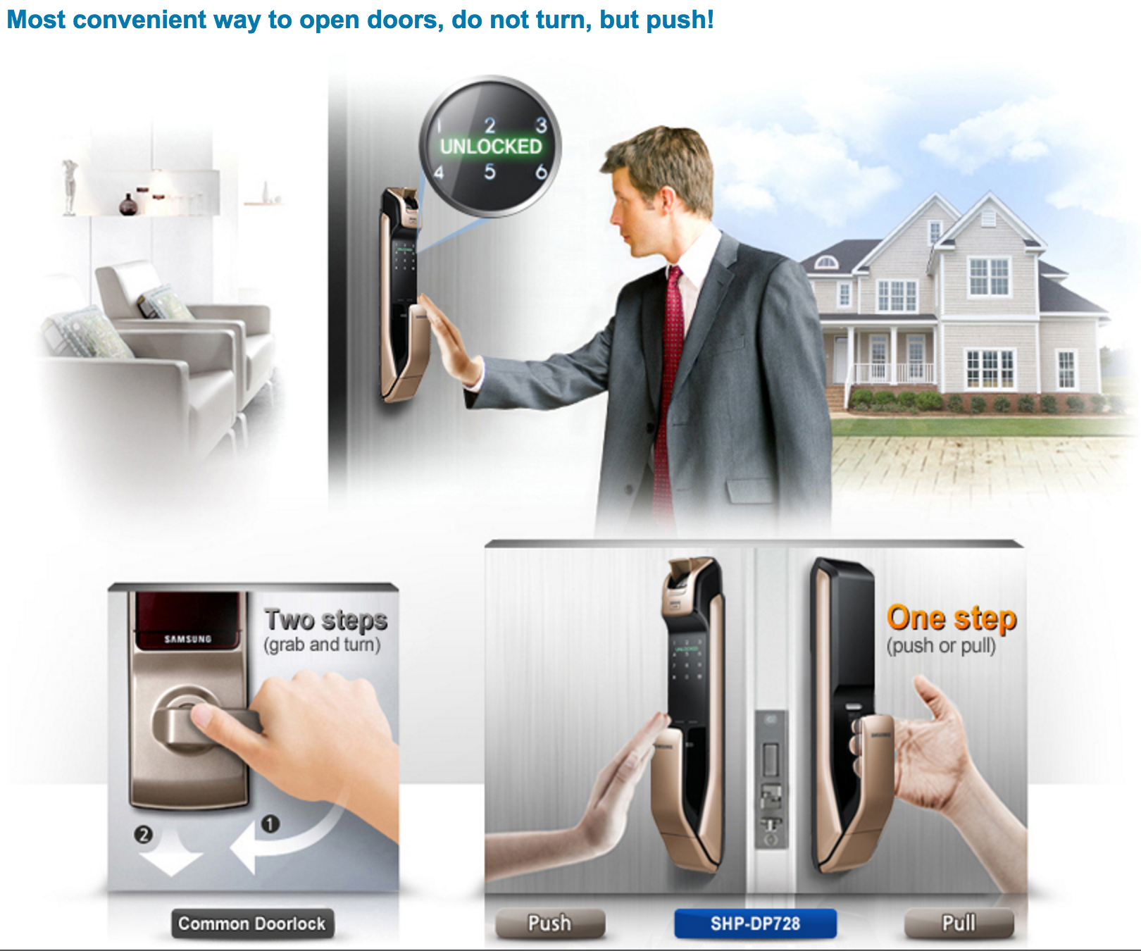 Samsung smart doorlock รุ่น SHP-DP728 เป็นกลอนประตูดิจิตอล digital door lock New Push/Pull Pin+RFID/NFC+Biometric/Finger scan+Key