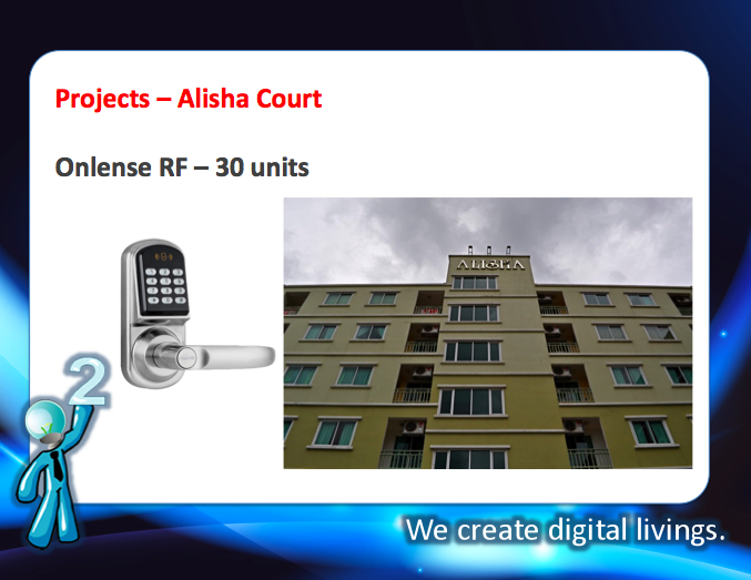 digital door lock กลอนประตูดิจิตอล Project Alisha Court Onlense RF 30 units