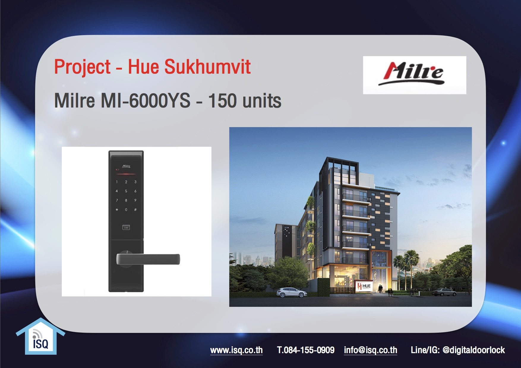 digital door lock กลอนประตูดิจิตอล Project Hue Sukhumvit Milre MI-6000YS 150 units